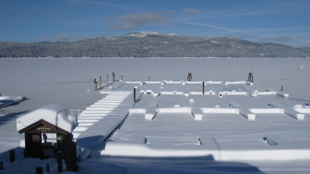 View of Brundage Mountain and frozen Payette Lake from our office at McCall Real Estate